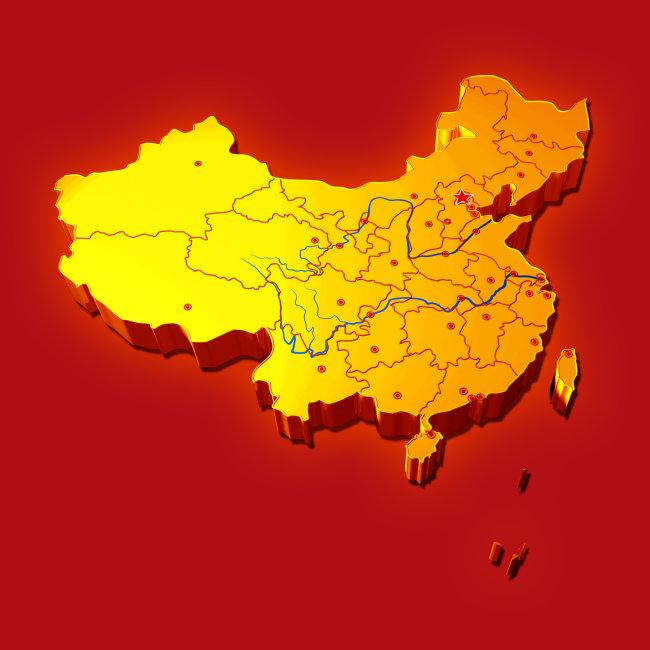 金色立体中国地图-其他海报设计-海报设计