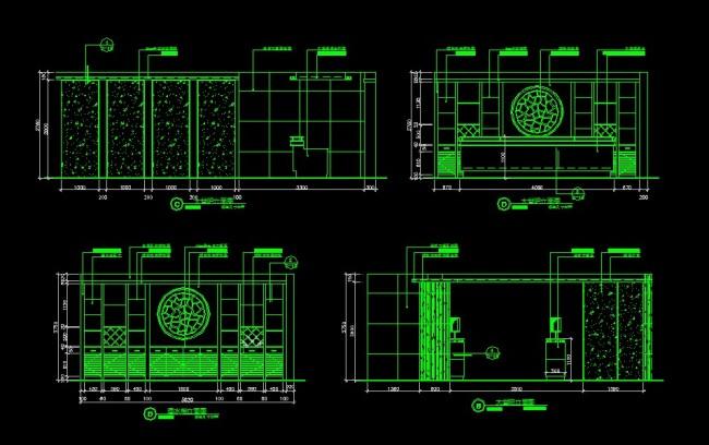 大堂吧立面图-cad图纸-室内装饰|无框画|背景墙