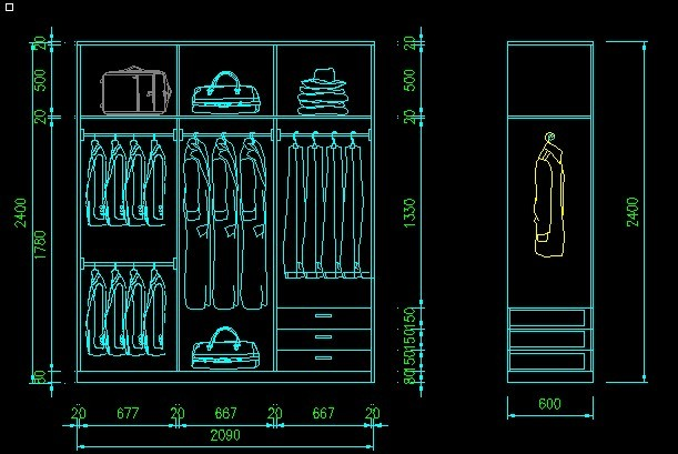 衣柜图 cad图纸 室内装饰 无框画 背景墙