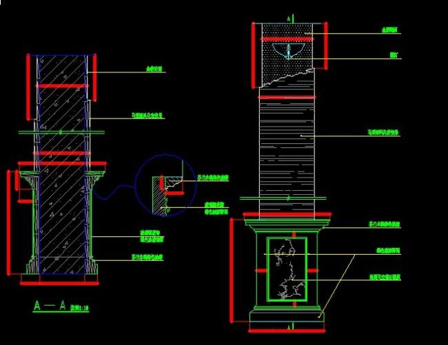柱子立面图-cad图纸-室内装饰|无框画|背景墙