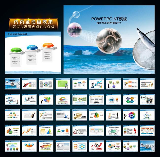 海洋渔业海鲜销售业绩报告幻灯片ppt模板