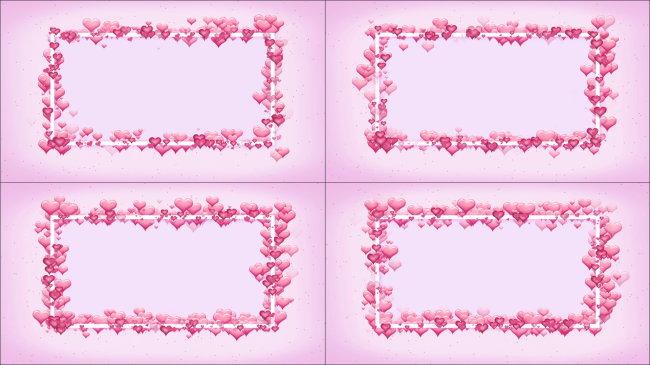 漂亮粉色爱心边框动态影视背景视频素材