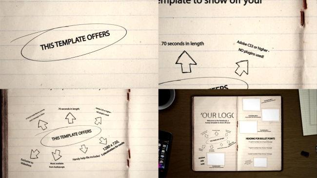 Ae书本写字画图展示效果模板