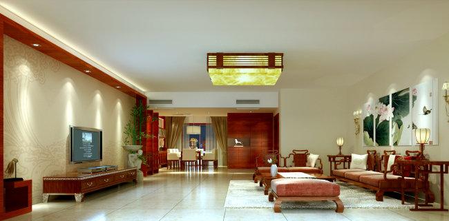 室内设计客厅效果图-室内设计-室内装饰|无框画|背景