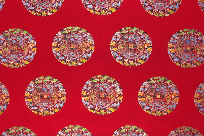 698 兆  刺绣 花纹 布料图案 五龙 龙 纺织 中国龙 盘绕 布纹