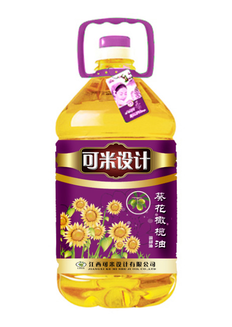 葵花橄榄油瓶贴设计展开图