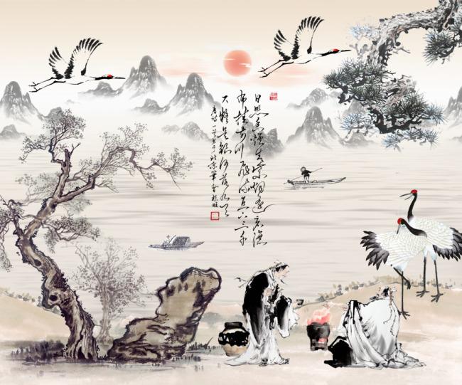 水墨山水风景国画图片