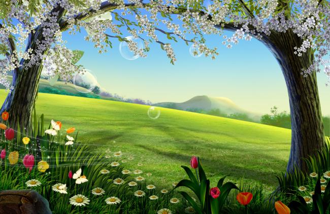春天杏花图片; 三年级下册春天图画;