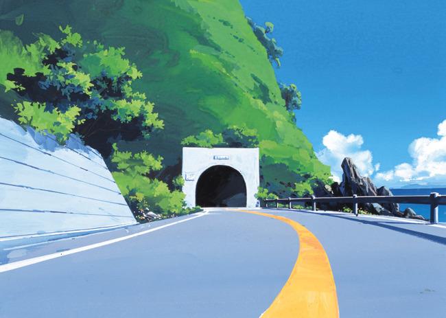 校园公路风景手绘