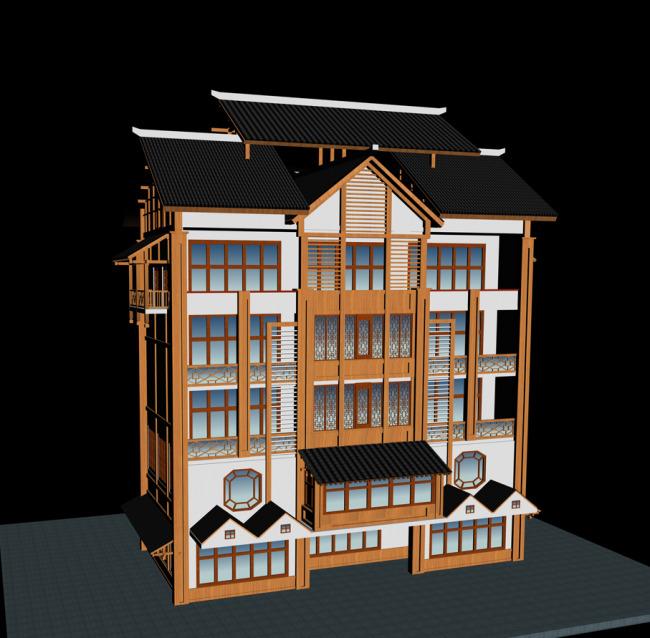 乡村水寨木结构建筑外观模型设计