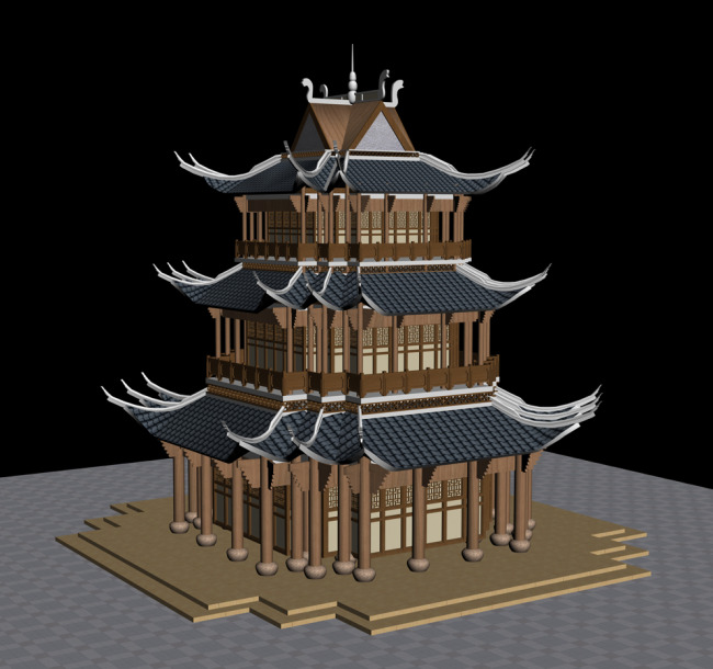 木结构三角檐塔楼建筑外观模型设计