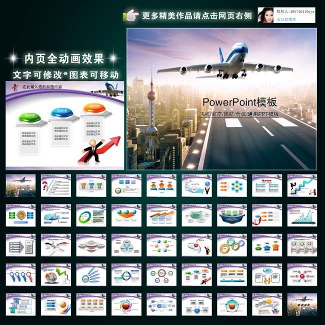 航空业ppt模板幻灯片设计-工业|生产|建筑|城市ppt
