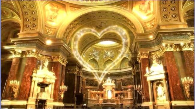 爱心天鹅湖宫殿婚庆视频led屏幕背景素材