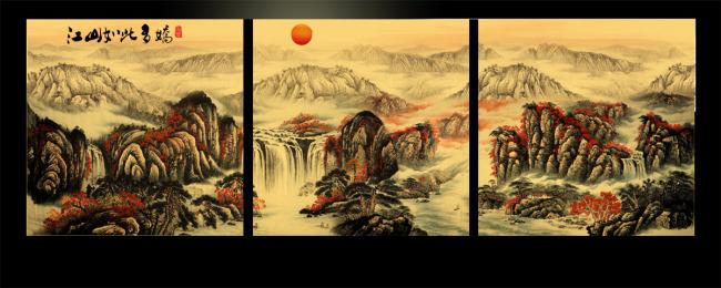 psd 图片名称:山水风景国画无框画 文件尺寸(宽高):3543 * 3543 像素