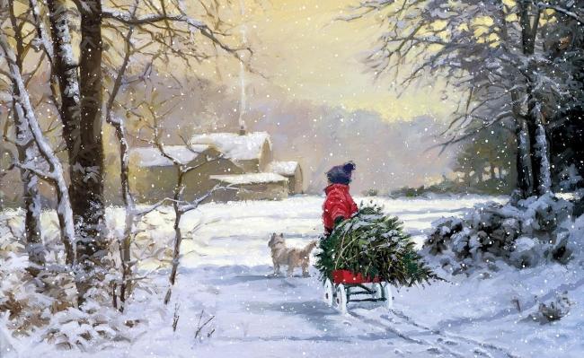 树木 树林 雪景 雪地 冬天 冬季 白色 室内 客厅 卧室 美景 景色 油画