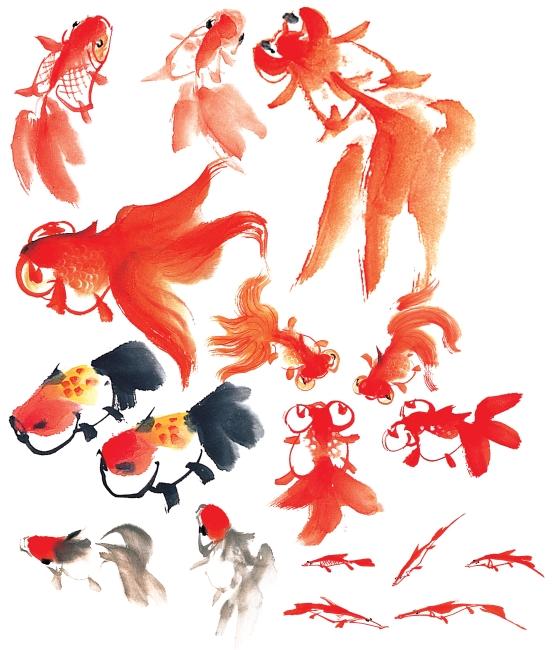 红金鱼 水墨画