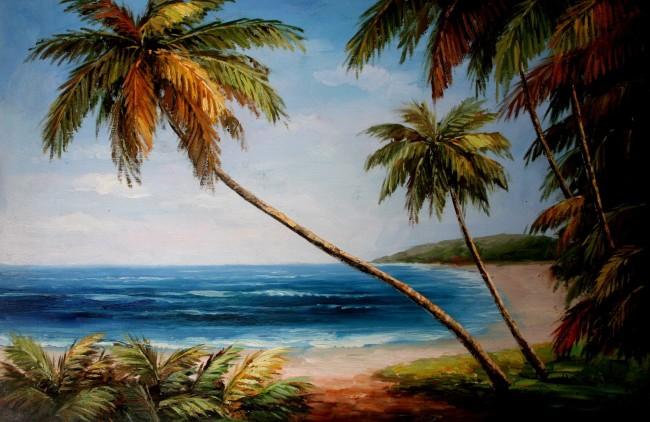 椰子树风景油画_椰子树风景简笔画