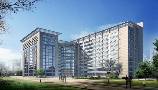 办公楼室外景观设计效果图 图片编号 010749735 室内设计 靓图网www