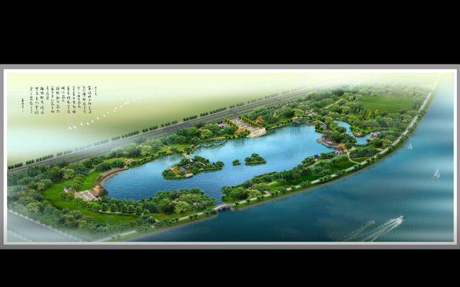 灵域设计 滨水生态公园景观规划鸟瞰效果图
