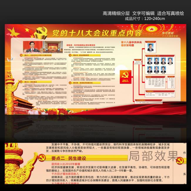 十八大宣传展板内容设计模板下载