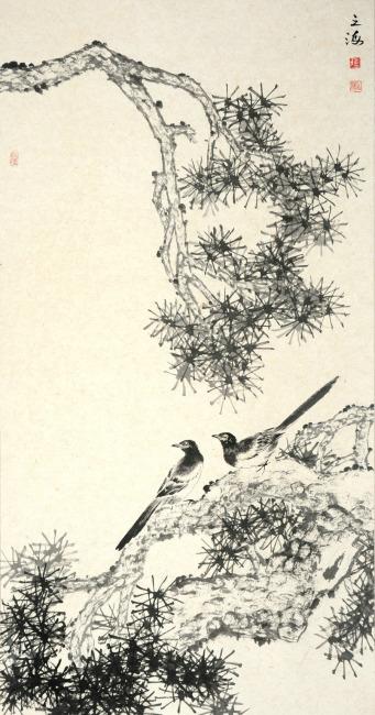 树木树枝 花鸟画 水墨画