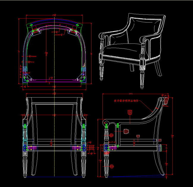 家具cad三视图