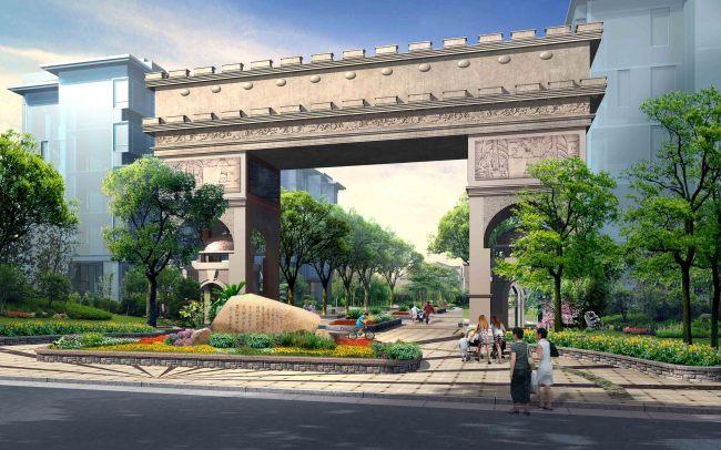 居住区入口大门景观效果图-园林景观设计-其他