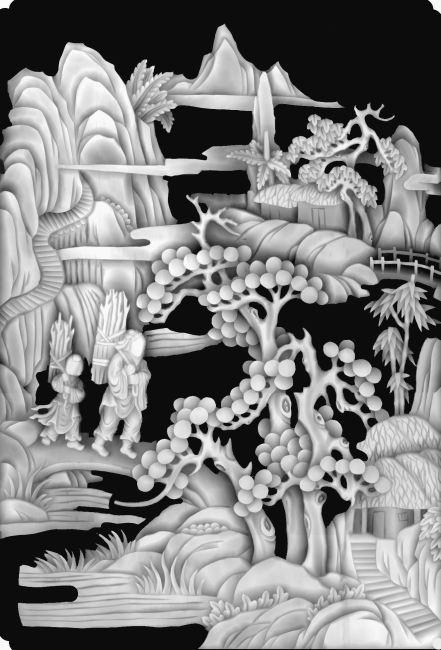 山水灰度图设计 -雕刻图案-其他