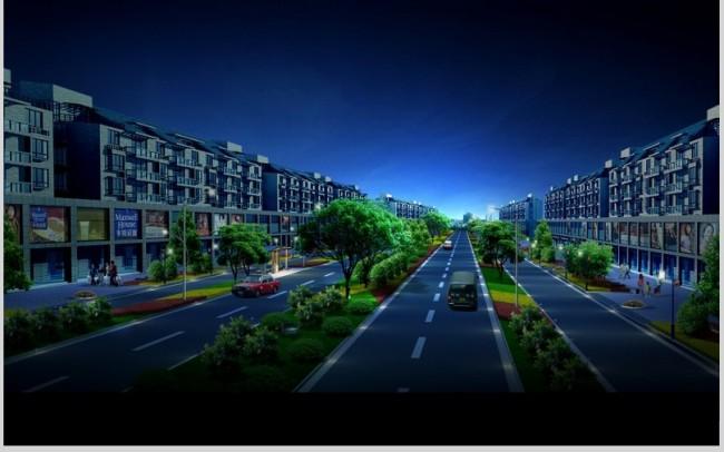 城市道路绿化夜景鸟瞰效果图