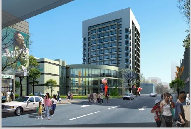 沿街商业建筑办公建筑效果图   >沿街商业建筑办公建筑效果