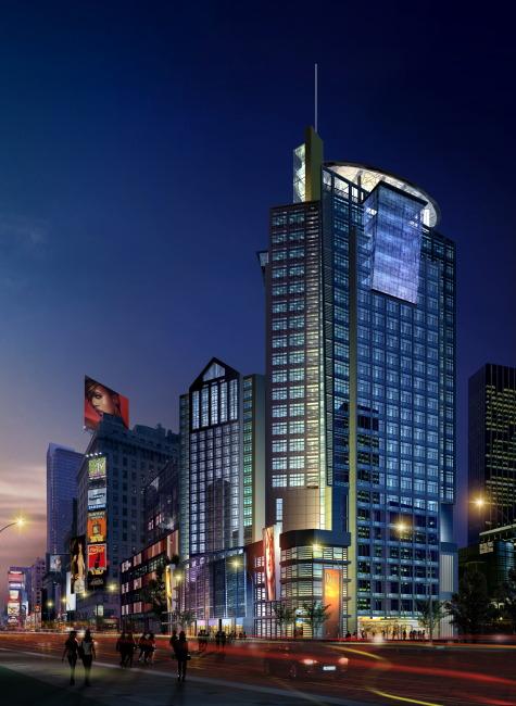沿街 商业建筑 夜景亮化 效果图