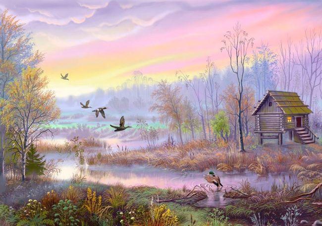 彩铅手绘河流风景画图片有哪些