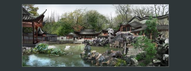 仿古亭子园林效果图-园林景观设计-其他
