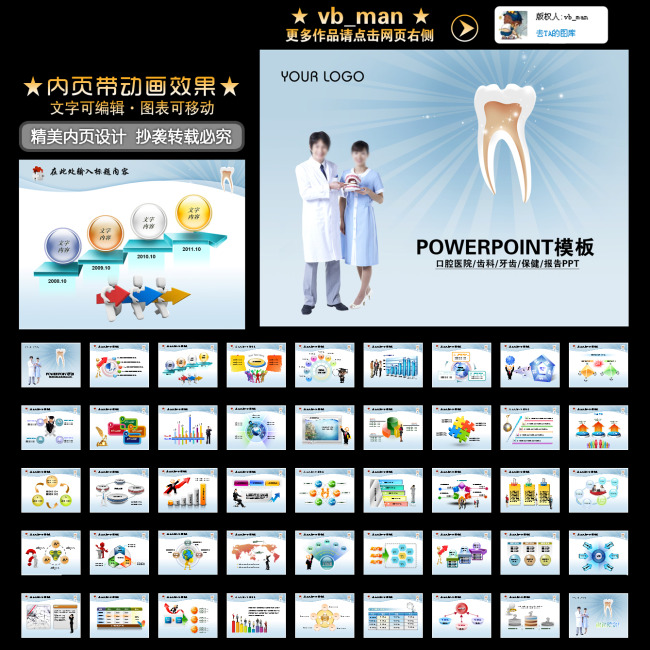 牙科诊所牙齿整形美容口腔医院PPT模板