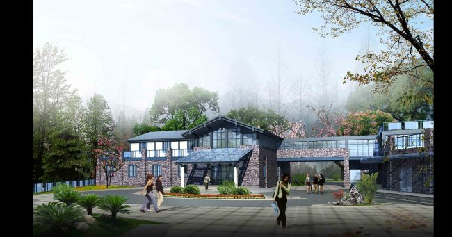 风景 旅游区入口 建筑景观效果图 园林 设计 室内