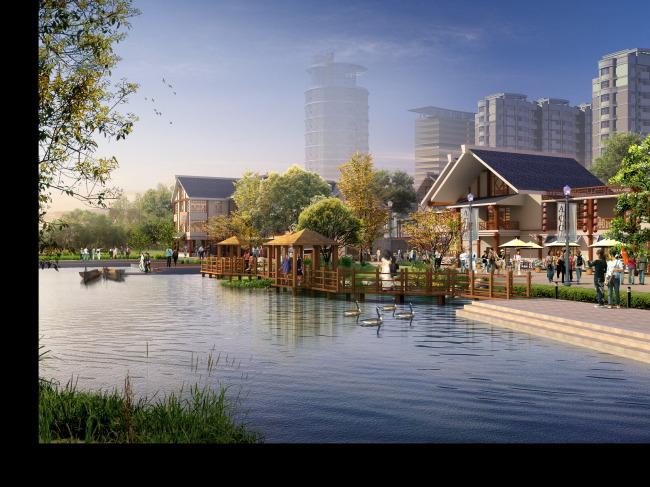 滨水中式商业街景观效果图
