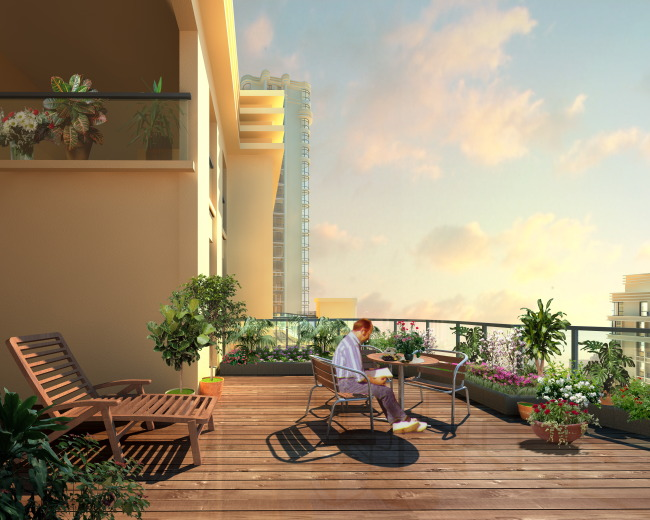 阳台景观效果图 园林设计 室内装饰 无框画 移门