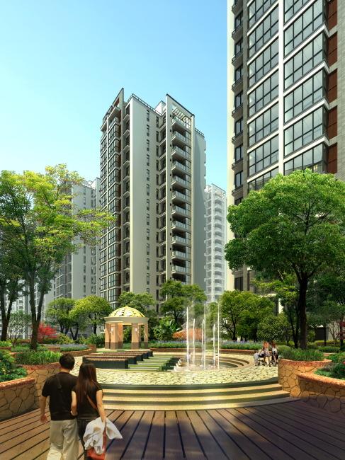 高层住宅中心 水景观 效果图 园林设计 室内装饰