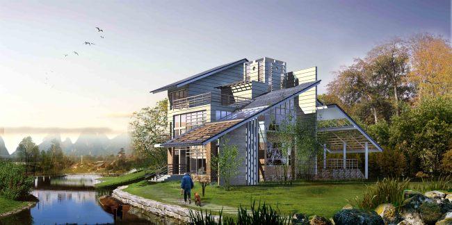 临湖 私家住宅别墅景观效果图 园林设计 室内装
