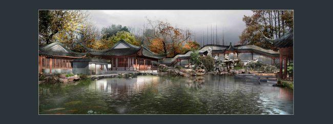 古典园林建筑长廊水景画卷景观效果图 园林设计 室内