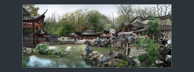 优秀的园林效果图 古典园林建筑假山水景画卷景观效果图