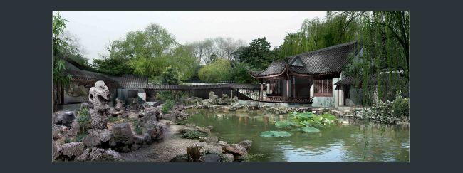 古典园林景观画卷分层效果图 山水风景画 室内装饰