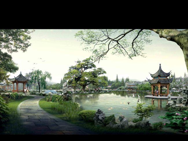 古典建筑山水园林景观效果图