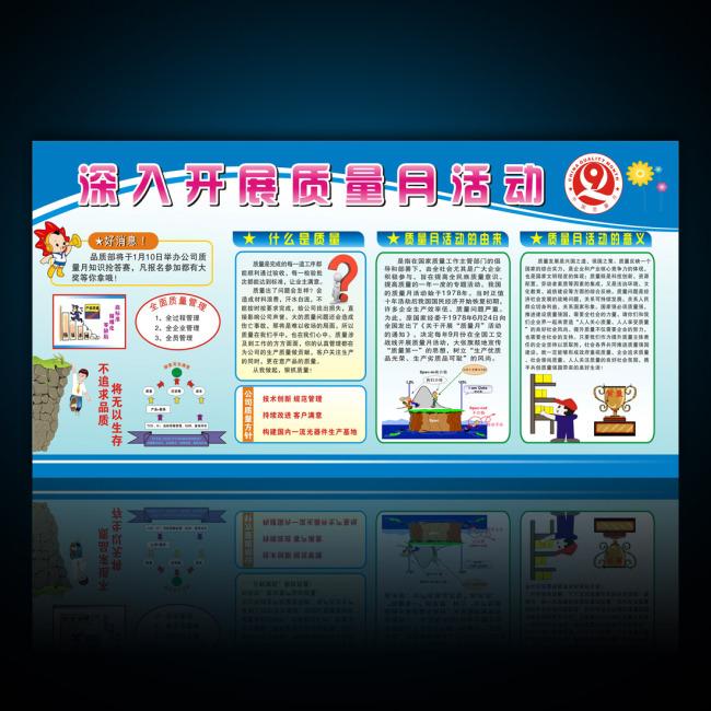 企业质量月活动知识宣传栏-企业展板设计-展板设计