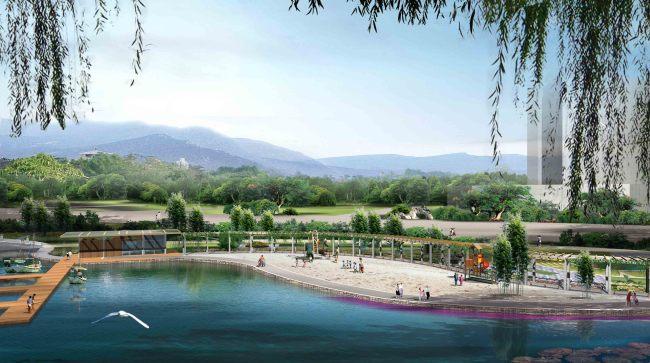 城市公园滨水广场亲水平台景观效果图-园林景观设计