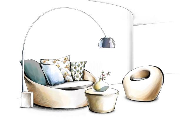 家居沙发手绘设计效果方案