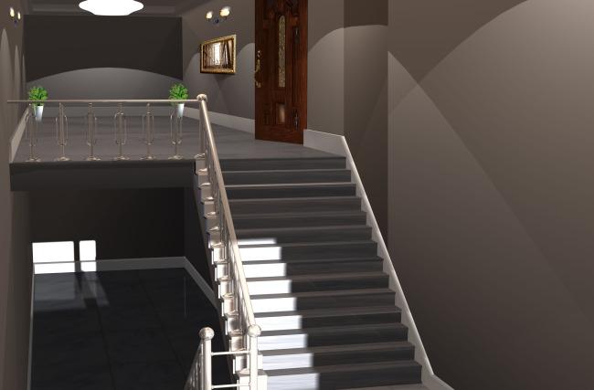 室内楼梯设计效果图psd