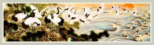 国画松树仙鹤图高清图片