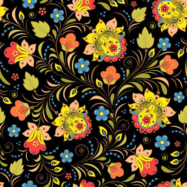 花朵 图案 布料纹理; 精美手绘花纹设计图案;; 幻彩手绘花纹设计矢量