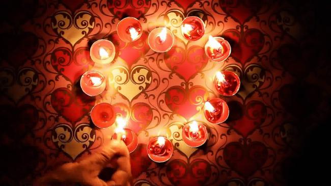 点燃心形红蜡烛高清led大屏幕视频素材图片